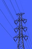 High voltage transmission lines isolated on a sky background. This has clipping path. poster