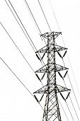 High voltage transmission lines isolated on a white background. This has clipping path. poster