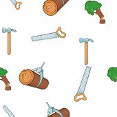 Woodworking pattern. Cartoon illustration of woodworking vector pattern for web poster