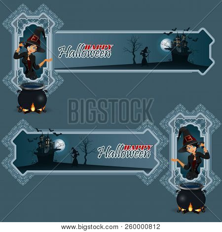 Halloween Party Invitation With Witch. Vector Illustration.