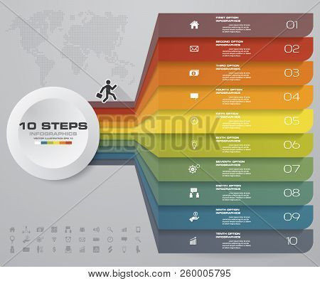 10 Steps Infographics Element Chart For Presentation. Eps 10. Arrow Template For Business Presentati