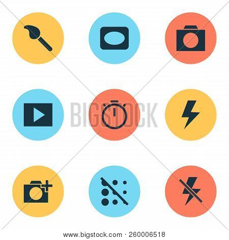 Image Icons Set With Circle, Vignette, Timer And Other Paintbrush Elements. Isolated  Illustration I