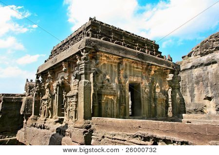 Ancient Ellora rock carved Buddhist temple, Aurangabad, Maharashtra, India