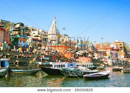 View to Prayag ghat on the sacred River Ganges at Uttar Pradesh  in Varanasi, India.