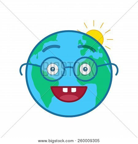 Nerd World Globe Isolated Emoticon. Wiseacre Blue Planet Emoji. Social Communication And Weather Wid