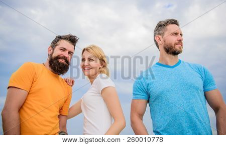 Girl decided with whom dating. Girl stand between two men. Couple and rejected partner. Woman picked boyfriend. Love as competition concept. She made her choice. Start romantic relationships poster