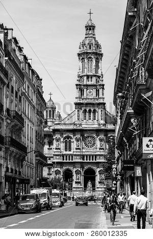 Paris, France - June 16, 2017: Trinity Church (eglise De La Sainte-trinite) Is A Roman Catholic Chur