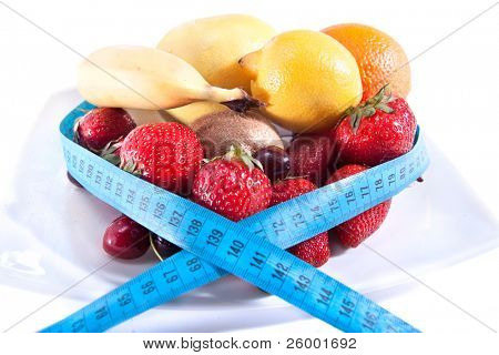 Balance diet with less calories, fresh fruits
