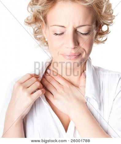 Close up of woman who has chest pain,  isolated on white