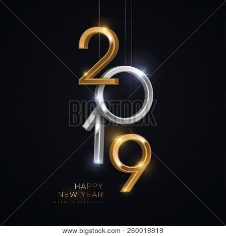 2019 Silver And Gold Numbers Hanging On Black Background. Vector Illustration. Minimal Invitation De