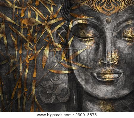 Bodhisattva Buddha - Digital Art Collage Combined With Watercolor. An Unusual Painting Hand Drawn Fo