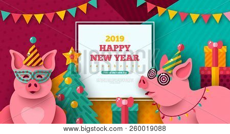 2019 Happy New Year With Cheerful Pigs In Carnival Masks And Caps. Vector Illustration. Photobooth P