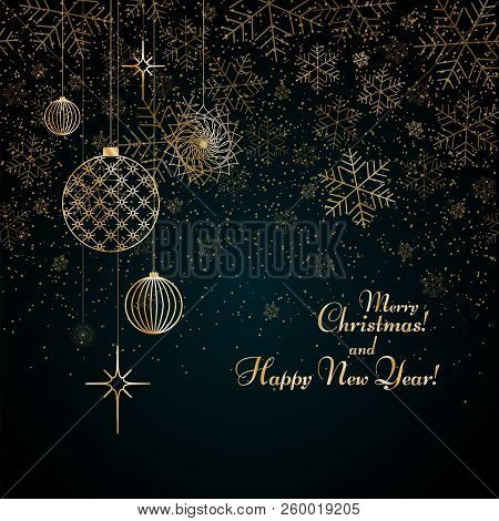 Christmas Background Gold Balls Toys Stars Snowflakes Glitter On A Blue Background Text Merry Christ