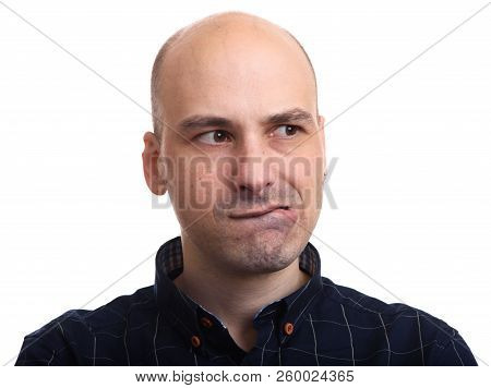 Worried Bald Man Looking Away. Isolated