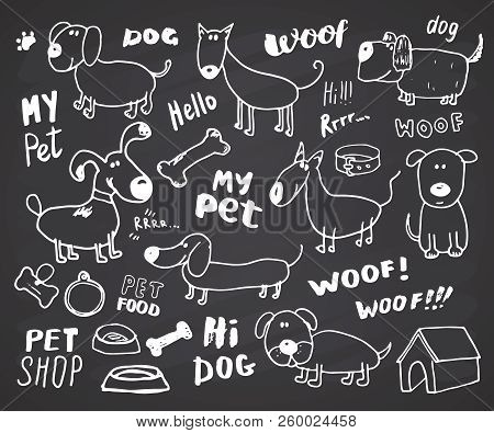 Funny Dogs Doodle Set. Hand Drawn Sketched Pets Collection Vector Illustration On Chalkboard Backgro