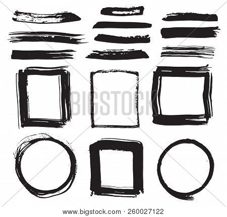 Frames And Brush Strokes, Grunge Textured Hand Drawn Elements Set, Vector Illustration.
