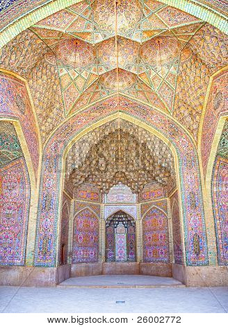 View of ceiling Nasir al-Mulk Mosque, Nasir al-Molk Mosque, Shiraz, Iran poster