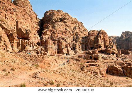 Urn Tombs in Wadi al-Farasa valley, Petra, Jordan poster