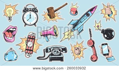 Comic Colorful Patches And Badges Collection With Speech Bubbles Bulb Rocket Hand Gestures Phone Pur