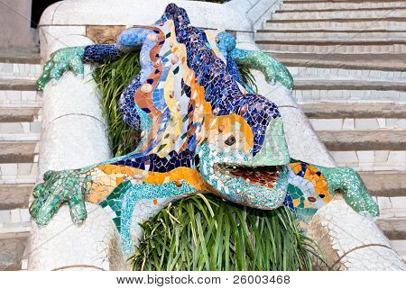 BARCELONA - OCTOBER 1: Mosaic Lizard made of broken ceramic tiles in Park Guell designed by Antoni Gaudi October 1, 2010 in Barcelona. Built in 1900 - 1914. Part of the UNESCO World Heritage
