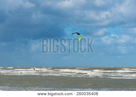 French Landscape - Normandie. Windy Weather On The Normandy Coast With Kitesurfer.