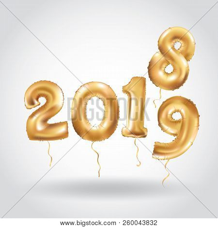 Happy New Year 2018 2019 Year After Year. Metallic Gold Balloons. Golden Letter Balloon, 2019 Happy
