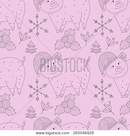 Christmas Vector Seamless Pattern With Detailed Holiday Illustrations With Cartoon Pigs Snowflakes A