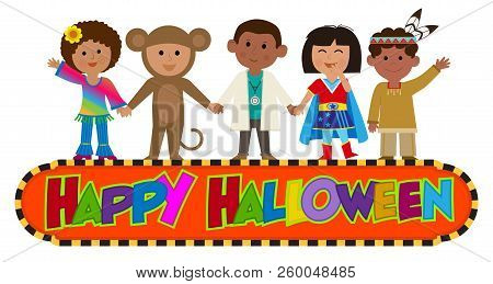 Happy Halloween Banner With Kids Wearing Costumes. Eps10