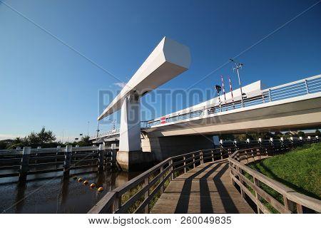 Steel Drawbridge Over River Hollandsche Ijssel Named Gouderaksebrug To Connect Krimpenerwaard With C
