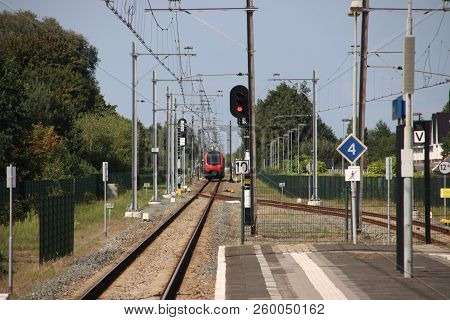 R-net Train On A Single Track Which Splits At The Platforms Of Station Boskoop In The Netherlands Be