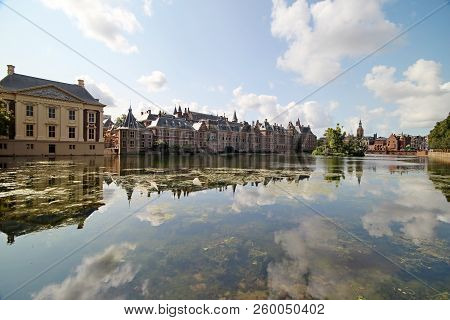 The Government And Parliament Buildings In The Hague Reflection On The Water Of Pool Hofvijver In Th