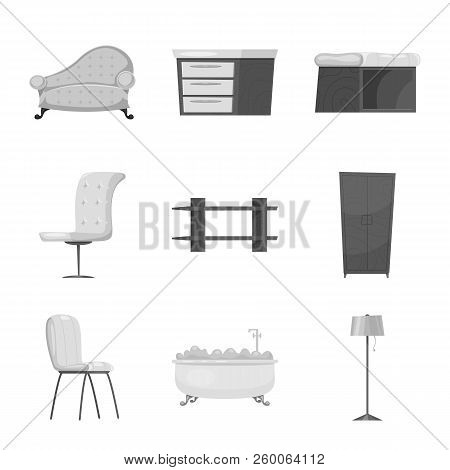 Vector Illustration Of Furniture And Apartment Icon. Set Of Furniture And Home Stock Vector Illustra