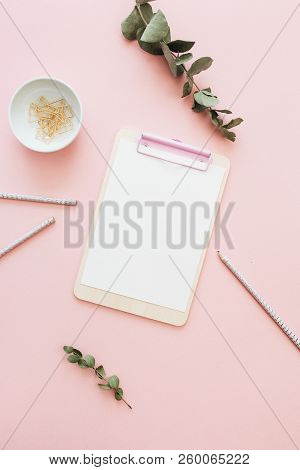 Flat Lay Office Workspace With Blank Clipboard, Eucalyptus Branches On Pink Background. Top View Min