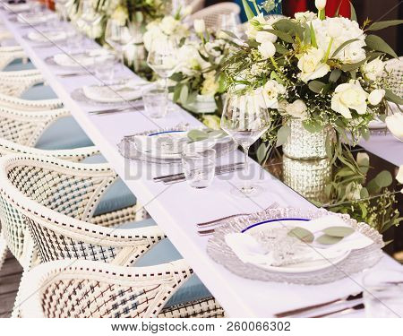 Set Table For A White And Aqua Blue Wedding Dinner Decorated