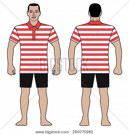 Fashion Man Body Full Length Template Figure Silhouette In Shorts And Short Sleeved Polo T Shirt (fr