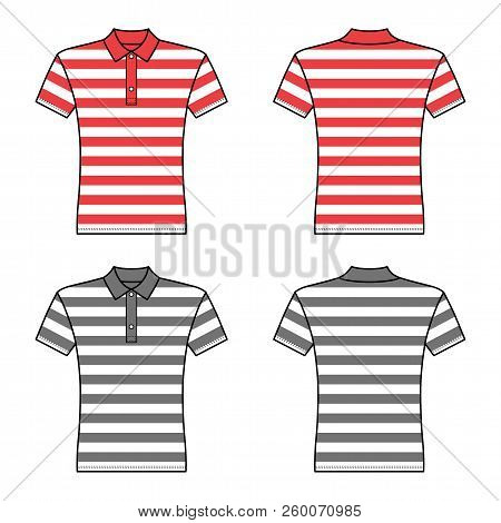 Polo Striped T Shirt Man Template (front, Back Views), Vector Illustration Isolated On White Backgro