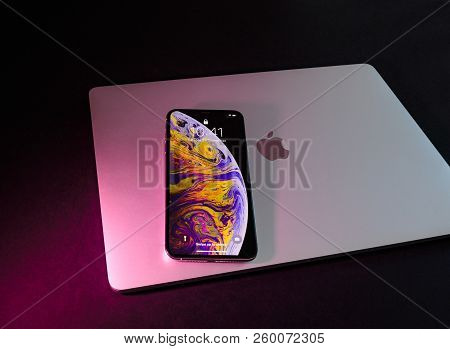 Paris, France - Sep 25, 2018: New Iphone Xs And Xs Max Smartphone Model By Apple Computers Close Up.