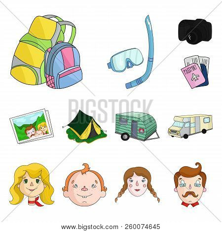 Family Holiday Cartoon Icons In Set Collection For Design. Recreation And Equipment. Vector Symbol S