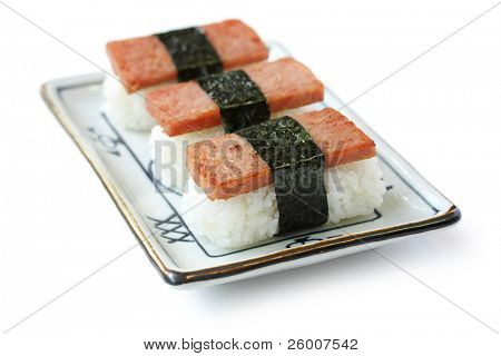 Spam Musubi , Rice Ball with a slice of grilled Spam on top and Nori (seaweed) wrapping. poster