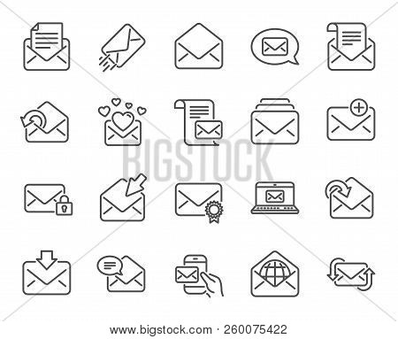 Mail Messages Line Icons. Set Of Newsletter, E-mail, Correspondence Linear Icons. Received Mail, Sec