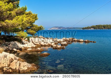 Croatian Coast. Sea View From The Island Of Hvar. Greetings From Vacation. Seas And Rocks On The Coa