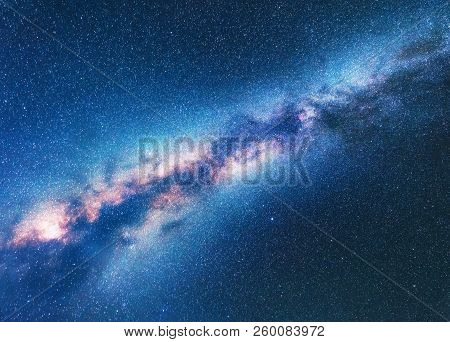 Milky Way. Space Background With Starry Sky. Fantastic Night Landscape With Bright Milky Way, Blue S