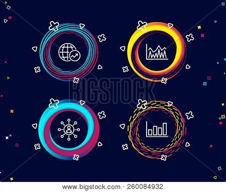 Set Of Networking, Investment And World Statistics Icons. Report Diagram Sign. Business Communicatio