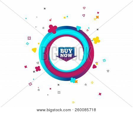 Buy Now Sign Icon. Online Buying Arrow Button. Colorful Button With Icon. Geometric Elements. Vector