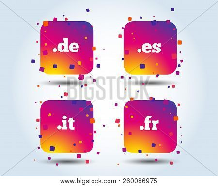 Top-level Internet Domain Icons. De, It, Es And Fr Symbols. Unique National Dns Names. Colour Gradie