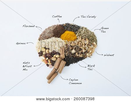 BRAIN MADE OF VARIOUS HERBS AND NUTS. HEALTHY BRAIN. NATURAL NUTRITION. FOOD CONCEPT. TOP VIEW.
