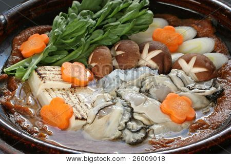 kaki dotenabe , oyster cooked in a pot at the table , japanese food poster