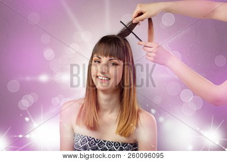 Young woman portrait with shiny pink beauty salon concept and personal styler hand poster
