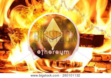 Ethereum Buring In Bonfire, Price Value Going Down  Concept Photo