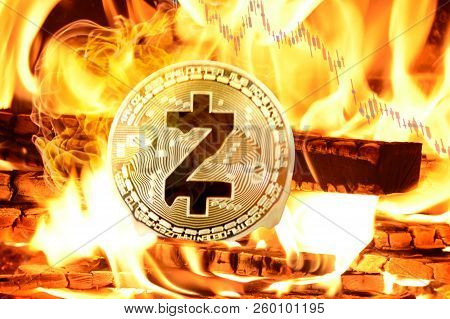 Zcash Coin Buring In Bonfire, Cryptocurrency Price Value Going Down, Concept Photo.